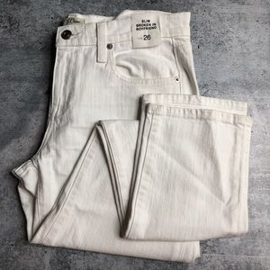 J. Crew White Slim Broken In Boyfriend Jeans